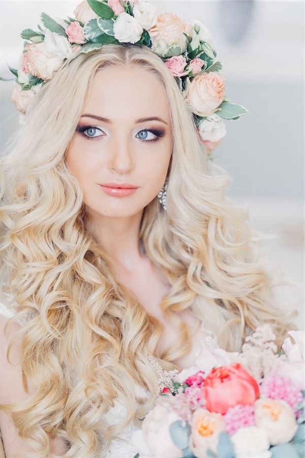 Bridal Hairstyles : Bloned Long Wavy Wedding Hairstyle With Pastel Regarding Wedding Hairstyles For Long Hair With Crown (View 13 of 15)