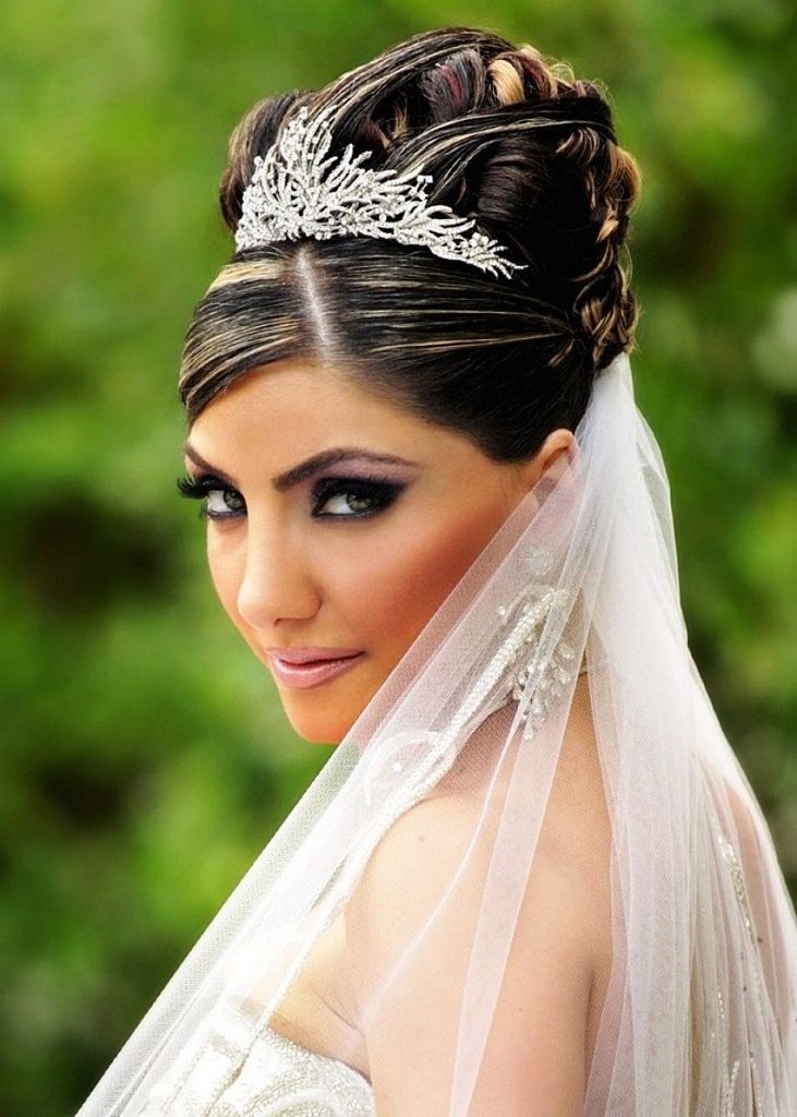 Bridal Hairstyles Long Hair Tiara Veil – Skyranreborn Throughout Wedding Hairstyles For Long Hair Up With Veil (View 6 of 15)