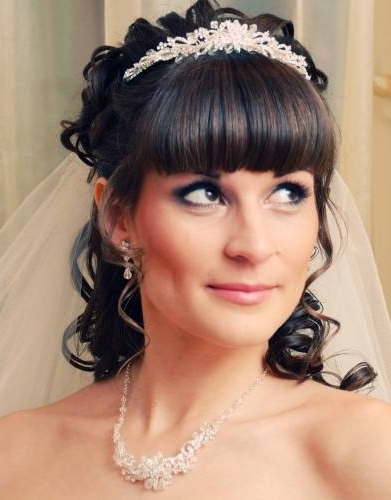 Bridal Hairstyles With Bangs For Long Hiar Witveil Half Up 2013 For Pertaining To Half Up Half Down With Fringe Wedding Hairstyles (View 6 of 15)