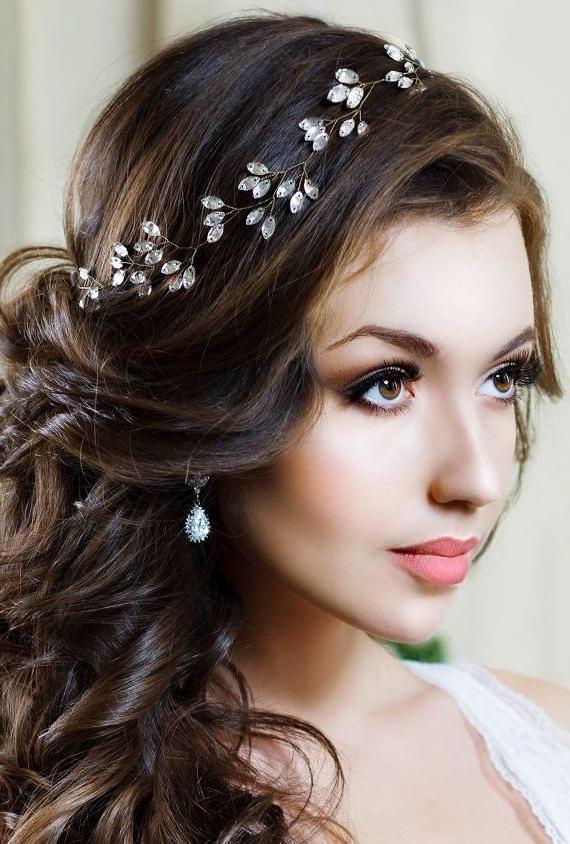 Bridal Headband Crystal Headpiece Crystal Tiara Wedding Hair Within Wedding Hairstyles With Tiara (View 12 of 15)