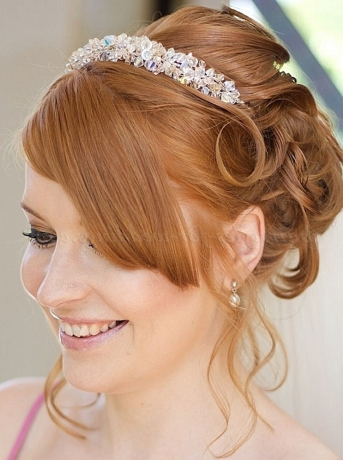 Bridal Headbands – Wedding Hairstyle With Rhinestone Headband Pertaining To Wedding Hairstyles With Headband (View 4 of 15)