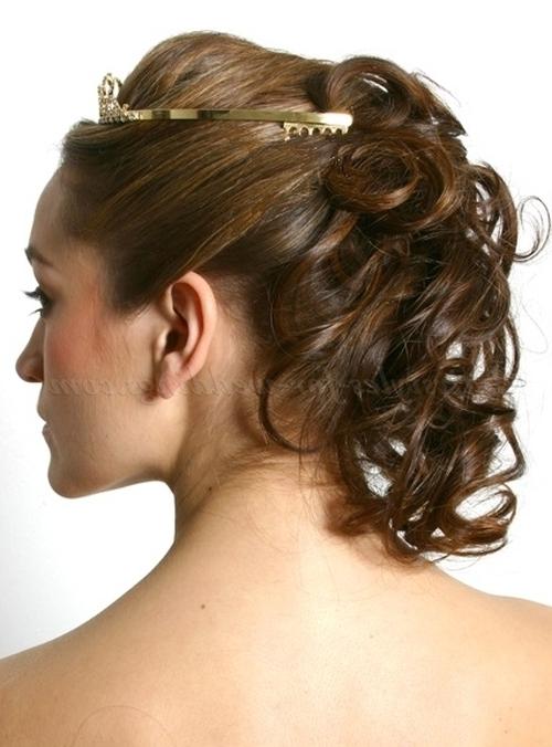 Bridal Tiara – Bridal Tiara With Half Updo Hairstyle Bridal Hair Within Wedding Hairstyles For Shoulder Length Hair With Tiara (View 5 of 15)