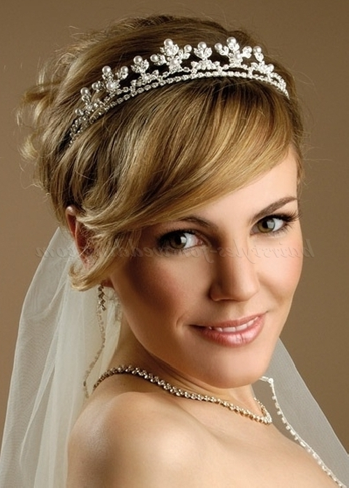 Bridal Tiara – Tiara And Veil With Short Bridal Hairstyle With Regard To Wedding Hairstyles For Short Hair With Veil And Tiara (View 4 of 15)