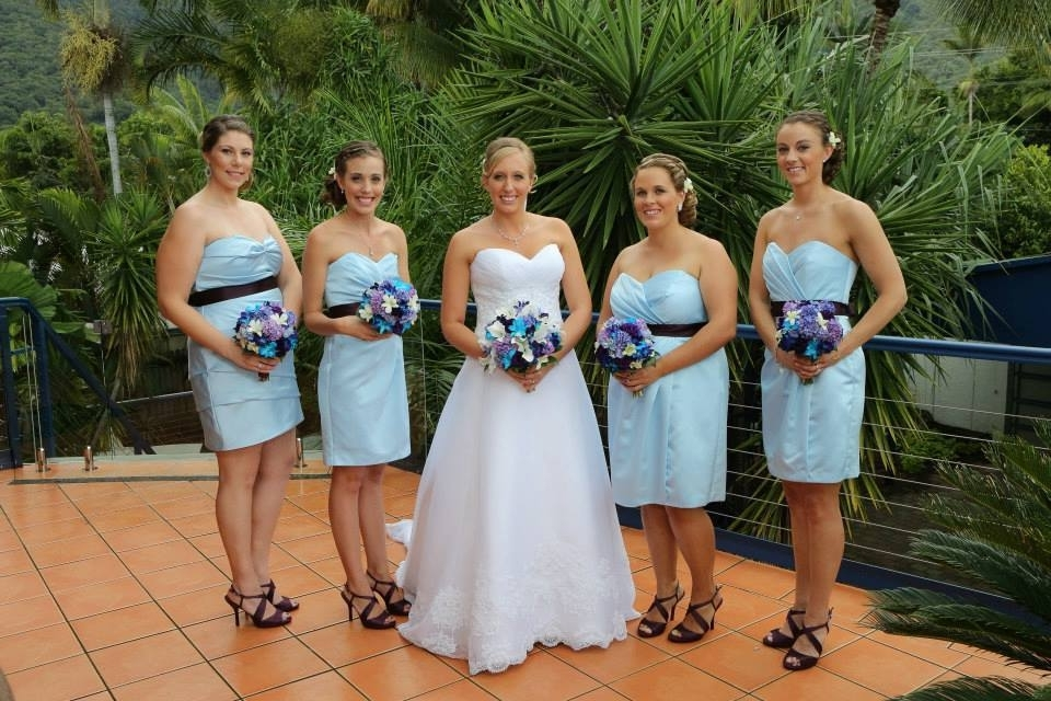 Bride And Blue Bridesmaid Dresses Palm Cove Beach Wedding Makeup And Within Beach Wedding Hair For Bridesmaids (View 10 of 15)