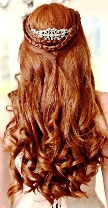 Bride's Crown Braid Long Soft Waterfall Curl Bridal Hair Ideas Toni For Wedding Hairstyles For Long Red Hair (View 4 of 15)