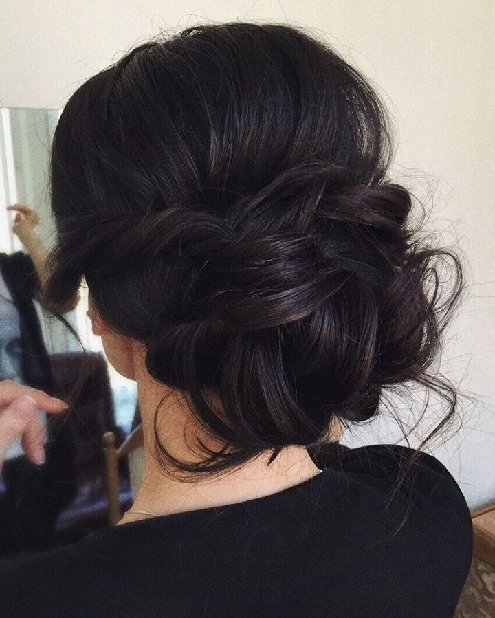 Chic Messy Wedding Updo For Straight Hair To Inspire You Bridal With Wedding Hairstyles For Medium Length With Black Hair (View 13 of 15)