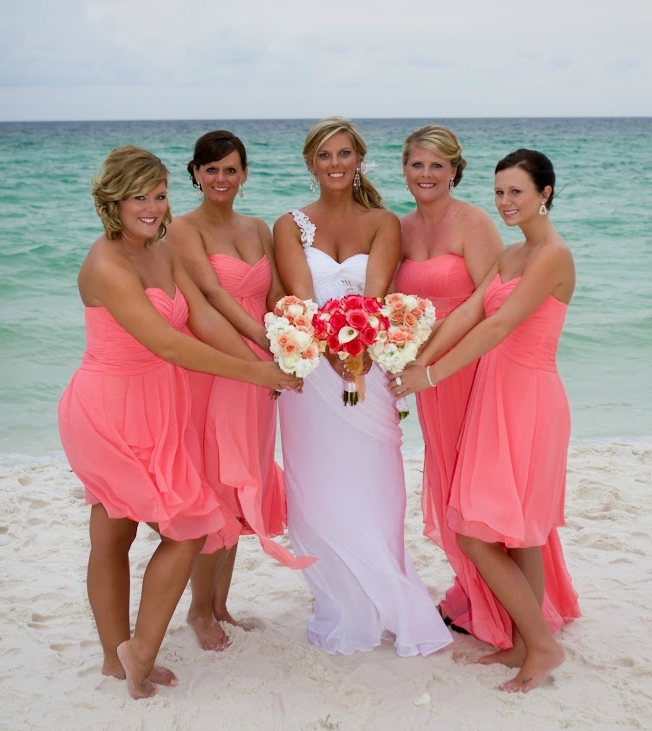 Coral Bridesmaid Dress Beach Wedding – Hairstyle For Women & Man In Beach Wedding Hairstyles For Bridesmaids (View 9 of 15)