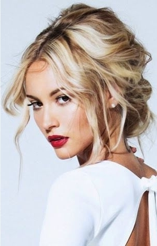 Curled Messy Low Updo With Middle Part | Wedding Updos | Pinterest For Middle Part Wedding Hairstyles (View 2 of 15)