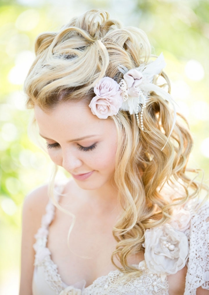 Curly, Braided Side Swept Bridal Hairsilk Hair & Makeup – Mon Intended For Pulled To The Side Wedding Hairstyles (View 3 of 15)