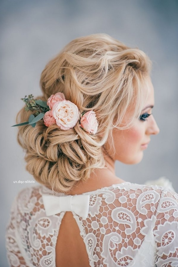 Curly Low Updo Wedding Hairstyle For Long Hair | Deer Pearl Flowers Intended For Updo Wedding Hairstyles For Long Hair (View 10 of 15)