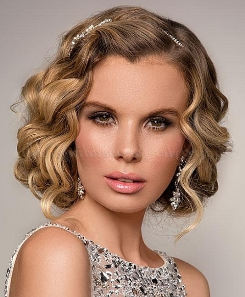 Curly Wedding Updos – False Bob Hairstyle For Brides | Hairstyles In Bob Wedding Hairstyles (View 11 of 15)