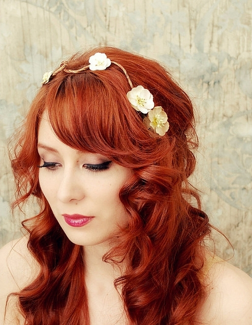 Diy Bridal Hairstyles For Long Hiar With Veil Half Up 2013 For Short Pertaining To Wedding Hairstyles For Long Red Hair (View 5 of 15)