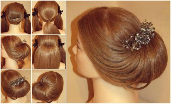 Diy Elegant Roll Up Wedding Updo Hairstyle Within Roll Hairstyles For Wedding (Gallery 15 of 15)