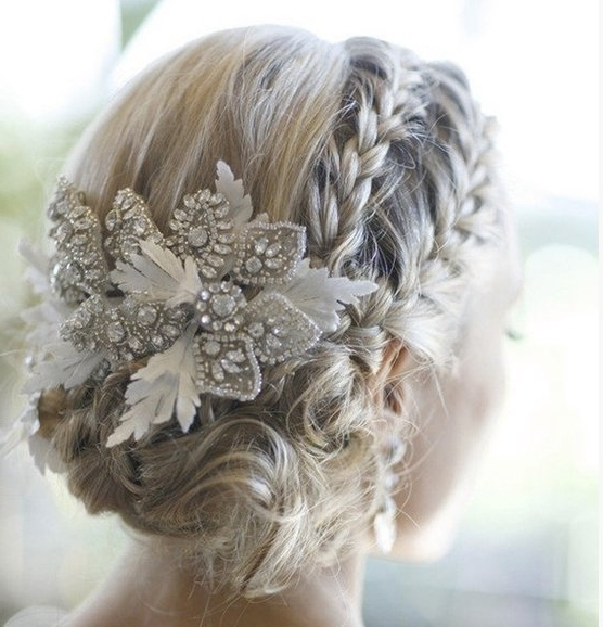 Double Braid Wedding Hairstyle Finished With A Beaded Fascinator In Wedding Hairstyles For Long Hair With Fascinator (View 6 of 15)