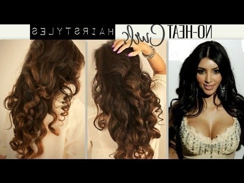 ?Kim Kardashian Big, #curly, No Heat Curls /waves | Cute School Pertaining To Wedding Hairstyles Without Heat (View 6 of 15)
