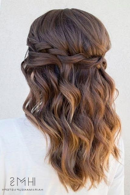 Easy Loose Waterfall Braid Hairstyles For Medium Length Hair With Regard To Easy Bridesmaid Hairstyles For Medium Length Hair (View 3 of 15)