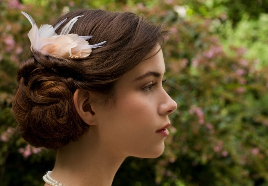 Elegantly Twisted Wedding Hairstyle With Fascinator In Wedding Hairstyles For Long Hair With Fascinator (View 6 of 15)