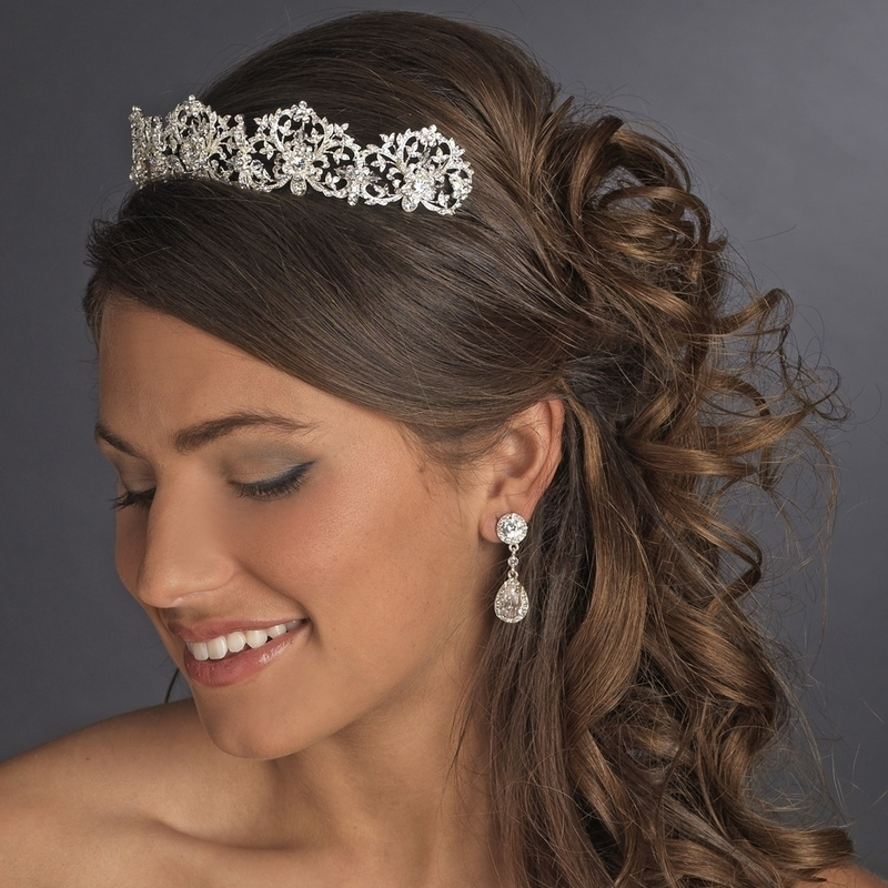 Exquisite Royal Crystal Bridal Tiara – Elegant Bridal Hair Accessories In Wedding Hairstyles For Medium Length Hair With Tiara (View 9 of 15)
