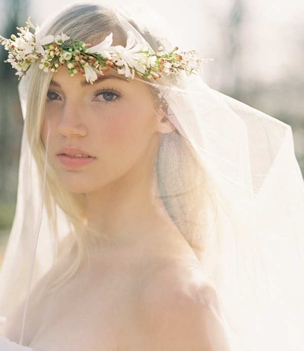 Fabulous Flower Crowns – The Perfect Bridal Hair Accessory : Chic Intended For Wedding Hairstyles With Veil And Flower (View 13 of 15)