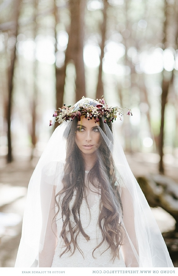 Fabulous Flower Crowns – The Perfect Bridal Hair Accessory : Chic Pertaining To Wedding Hairstyles With Veil And Flower (View 15 of 15)