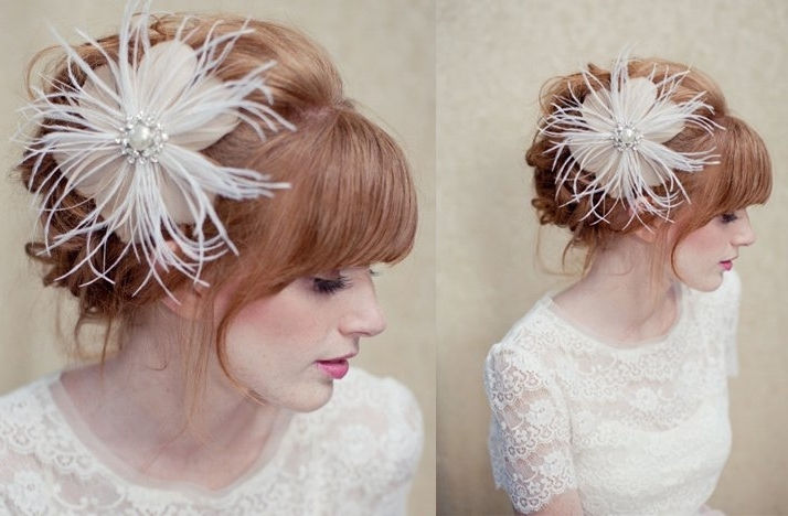 Feather Bridal Fascinator Wedding Hair Accessories Vintage Glam Within Wedding Hairstyles For Long Hair With Fascinator (View 15 of 15)