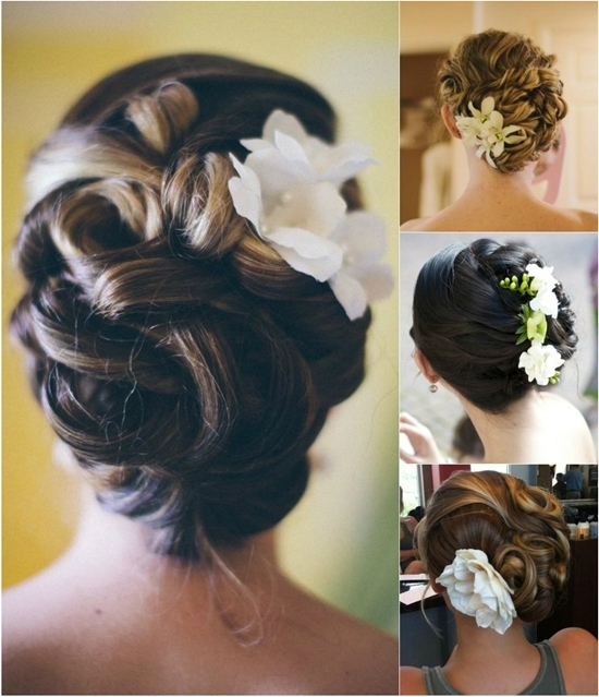 Flattering Wedding Updo With Flowers And Cheap Human Straight Hair Within Wedding Updos For Long Straight Hair (View 13 of 15)