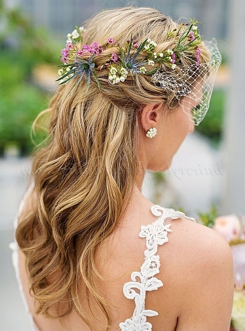 Floral Hair Pieces For Brides – Floral Wreath With Birdcage Veil With Wedding Hairstyles With Veil And Flower (View 8 of 15)