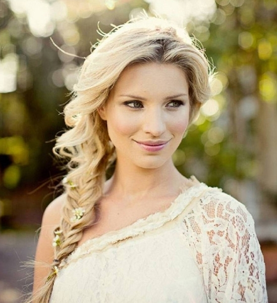 Flower Laced Fishtail Braid – Wedding Hair Inspiration For Brides In Fishtail Braid Wedding Hairstyles (View 10 of 15)