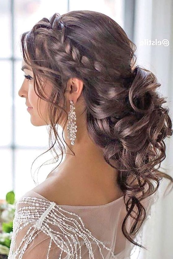 Glamorous Side Braided Curly Low Updo Wedding Hairstyle; Featured For Low Updo Wedding Hairstyles (Gallery 10 of 15)