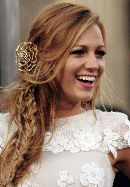 Gold, Romantic, Rose, Blake, Lively, Cute, Blake Lively, Hair With Wedding Hairstyles With Jewelry (View 7 of 15)