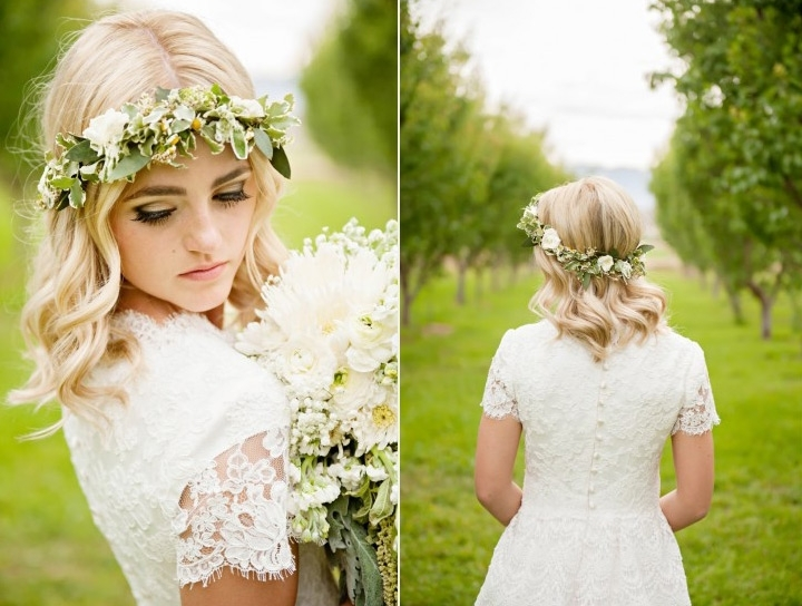 Gorgeous Wedding Hairstyles For Medium Length Hair Throughout Wedding Hairstyles For Medium Length Hair With Flowers (View 8 of 15)