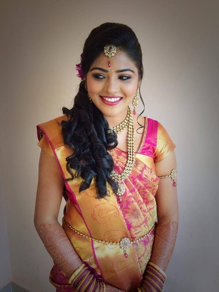 Hair Style For Wedding Reception Magnificent Simple Trending South Throughout Wedding Reception Hairstyles For Indian Bride (View 6 of 15)