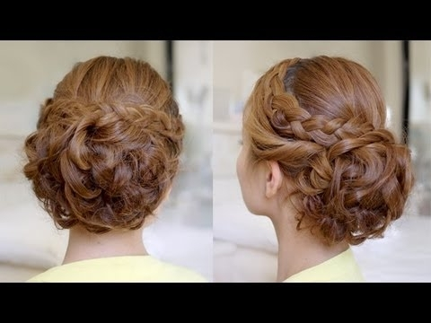 Hair Tutorial: Bridal Curly Updo With Braids – Youtube Throughout Plaits And Curls Wedding Hairstyles (View 5 of 15)