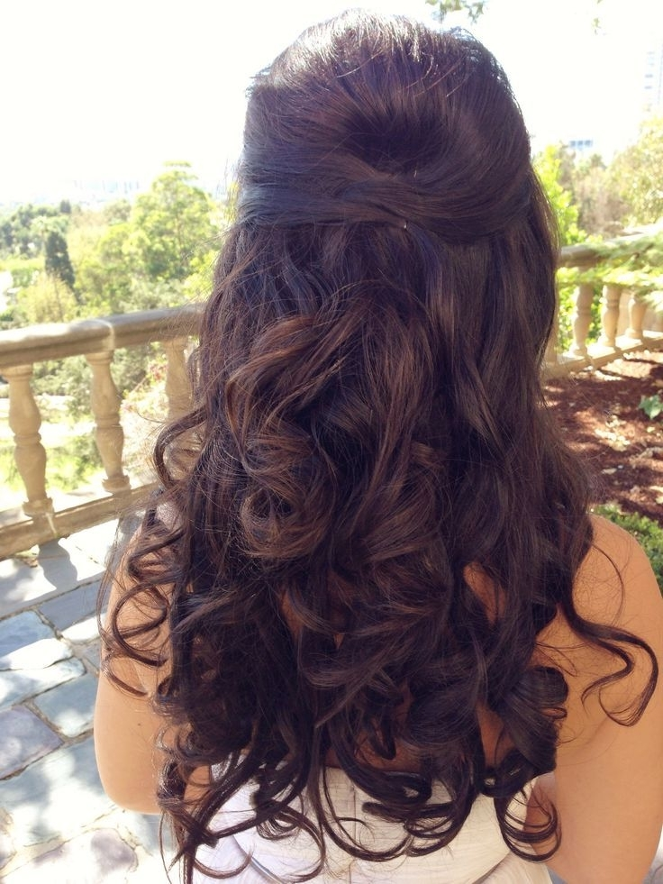 Half Up Curly Hairstyles For The Most Glamorous Look | Long Curly Inside Curly Hair Half Up Wedding Hairstyles (View 8 of 15)