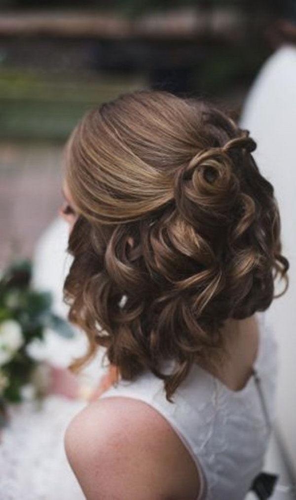 Half Up Down Wedding Hairstyles Short Hair Photography | Wedding Intended For Wedding Hairstyles For Short Hair And Bangs (View 14 of 15)
