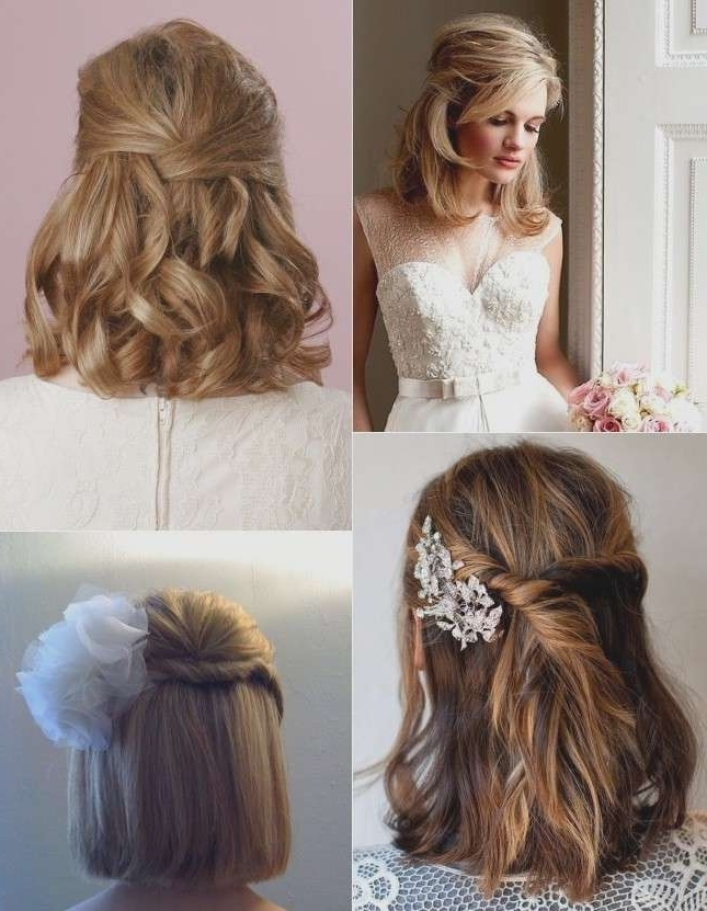 Half Up Half Down Hairstyles Wedding Awesome 9 Short Wedding For Down Short Hair Wedding Hairstyles (View 6 of 15)