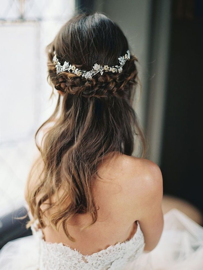 Half Up Half Down Wedding Hairstyle With Pretty Hairpieces | Deer For Half Up Half Down With Flower Wedding Hairstyles (View 10 of 15)