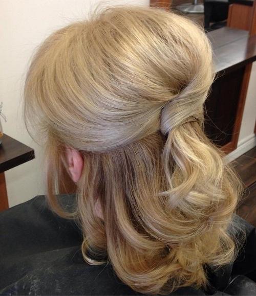 Half Up Half Down Wedding Hairstyles – 50 Stylish Ideas For Brides With Wedding Hairstyles For Medium Length Hair (View 11 of 15)