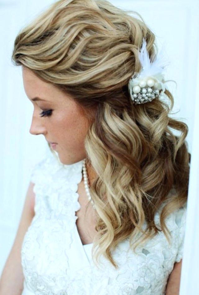 Half Up Half Down Wedding Hairstyles For Medium Length Hair Wedding Intended For Down Medium Hair Wedding Hairstyles (View 11 of 15)