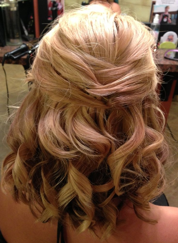 Half Up Half Down Wedding Hairstyles For Medium Length Hair Within Wedding Hairstyles For Shoulder Length Thin Hair (View 7 of 15)