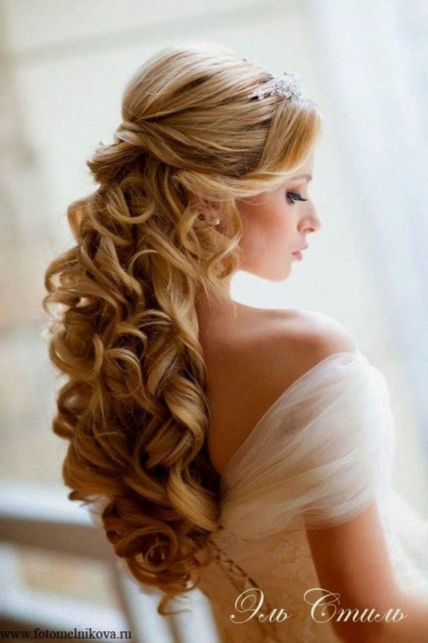 Half Up Half Down Wedding Hairstyles With Tiara And Veil For Wedding Hairstyles With Tiara And Veil (View 11 of 15)