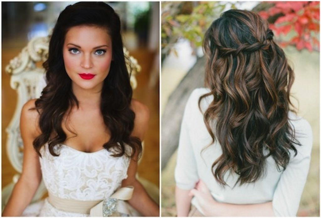 Half Up Wedding Hairstyles For Long Hair With Veil Intended For Wedding Guest Hairstyles For Long Straight Hair (View 6 of 15)