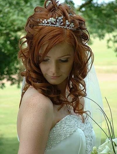 Half Up Wedding Hairstyles For Medium Hair Long Curly Wedding With Regard To Wedding Hairstyles For Young Brides (View 8 of 15)