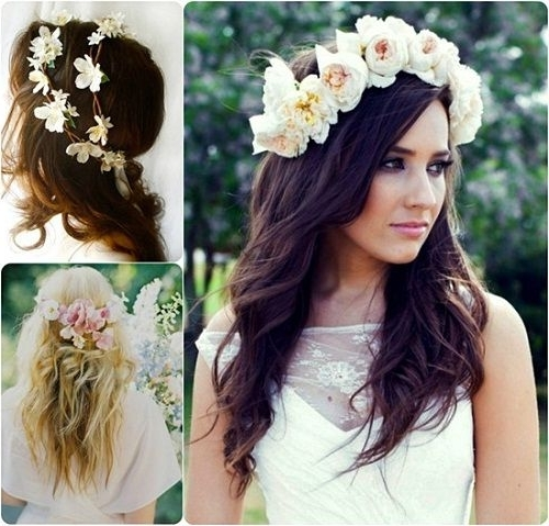 Half Up Wedding Hairstyles For Medium Length Hair With Flowers – New Inside Wedding Hairstyles For Medium Length Hair With Flowers (View 9 of 15)