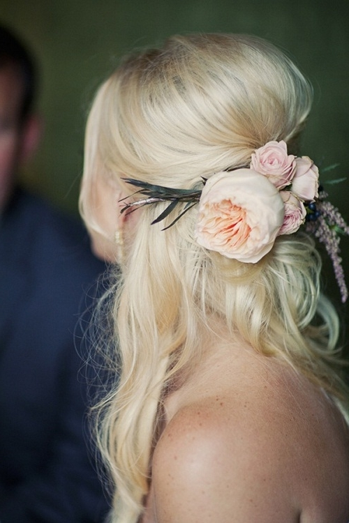 Half Up Wedding Hairstyles For Medium Length Hair With Flowers With Regard To Wedding Hairstyles For Medium Length Hair With Flowers (View 10 of 15)