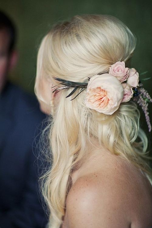 Half Up Wedding Hairstyles For Medium Length Hair With Flowers With Regard To Wedding Hairstyles For Medium Length Hair With Flowers (View 15 of 15)