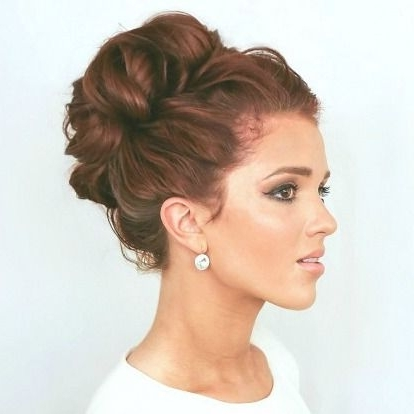High Curly Bun For Bridal Hairstyle With Wedding Hairstyles That Last All Day (View 6 of 15)