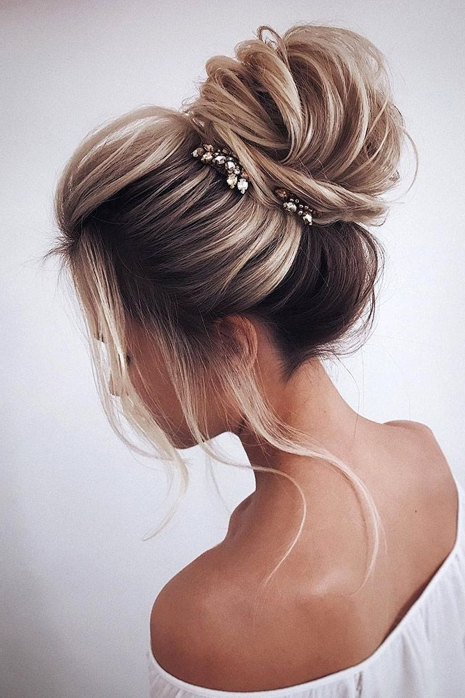 High Loose Bun Wedding Updo Hairstyles #weddinghairstyles | Hair Regarding High Updos Wedding Hairstyles (View 15 of 15)