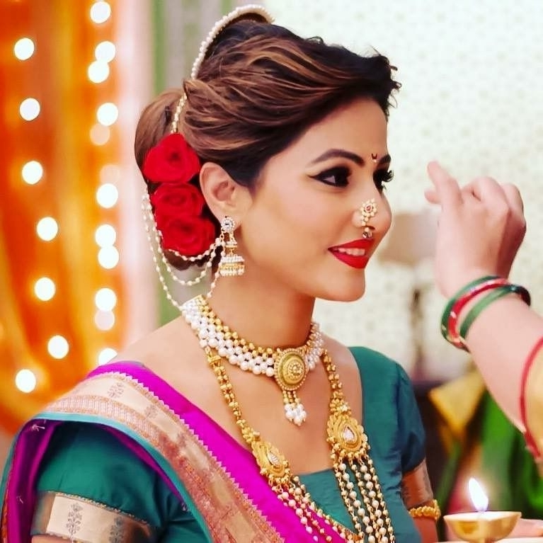 Hina Khan | Maharashtrian Makeup Look – Mugeek Vidalondon Regarding Maharashtrian Wedding Hairstyles For Long Hair (View 9 of 15)