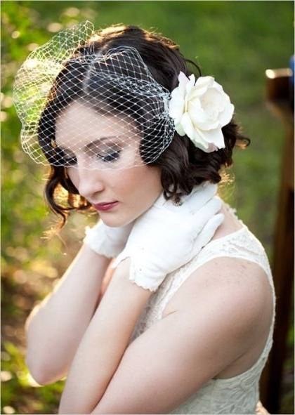 Image Result For Natural Curls Birdcage Veil | Hair | Pinterest With Regard To Wedding Hairstyles For Short Hair With Birdcage Veil (View 7 of 15)
